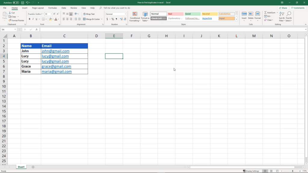 How to find duplicates in Excel - deleted duplicates