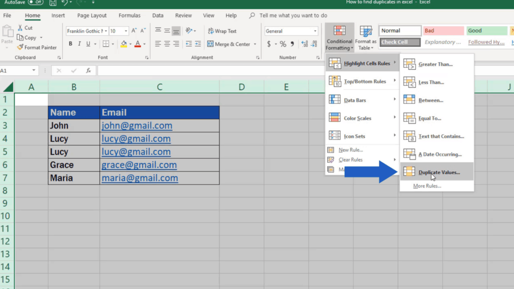 How to find duplicates in Excel - highlight duplicate values