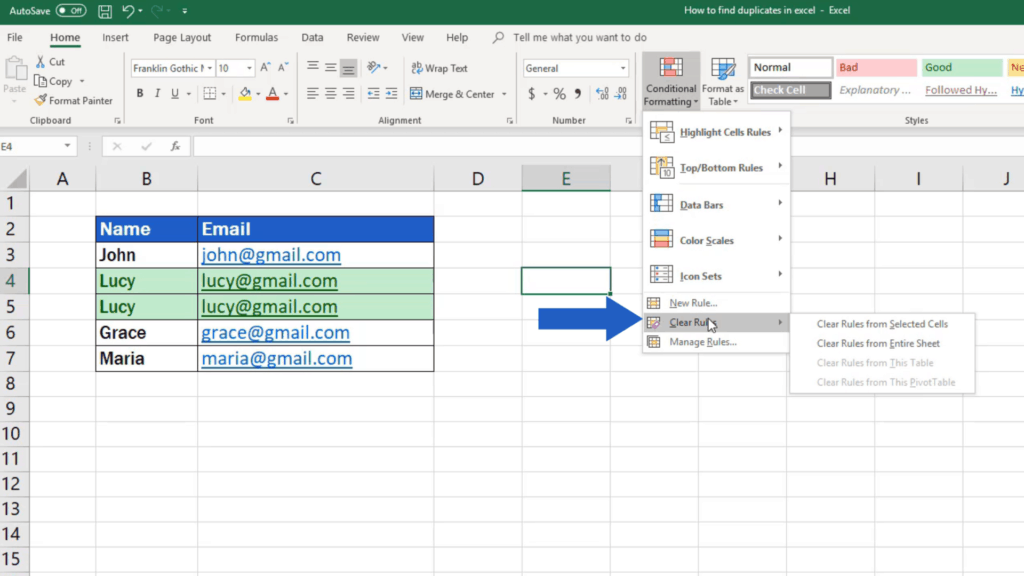 How to find duplicates in Excel - turn off highlighting of duplicates