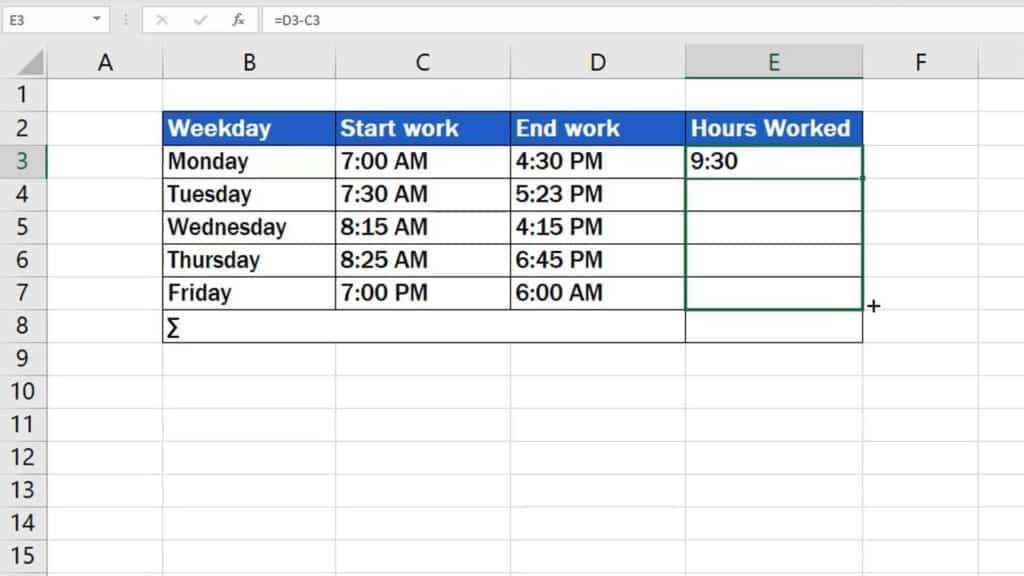 How to Calculate Hours Worked in Excel - drag the formula