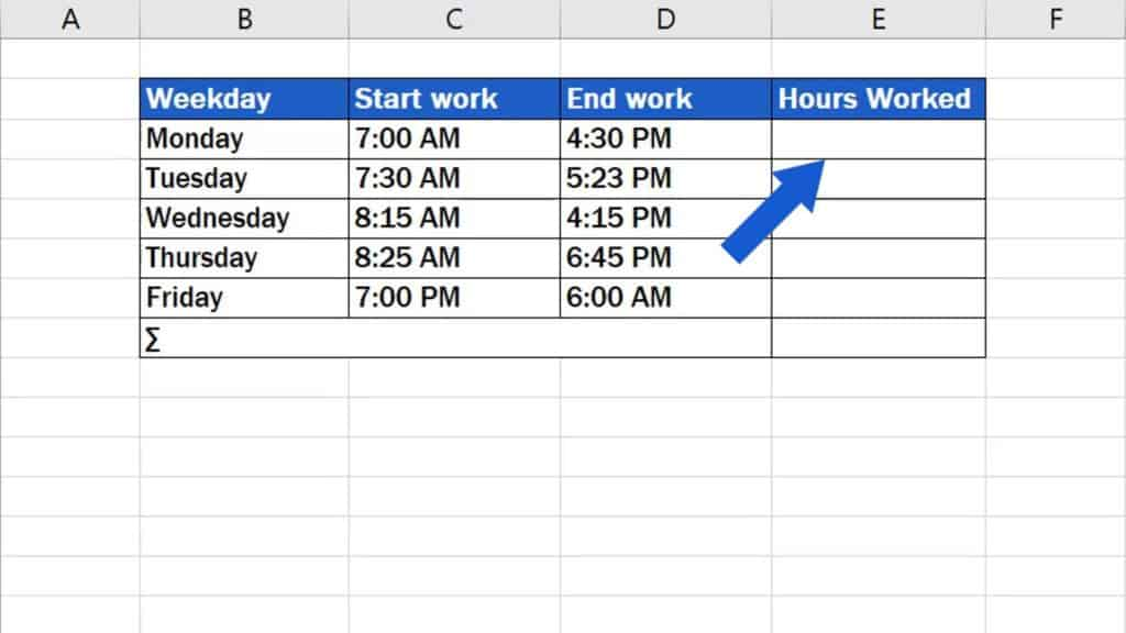 How to Calculate Hours Worked in Excel - in the table