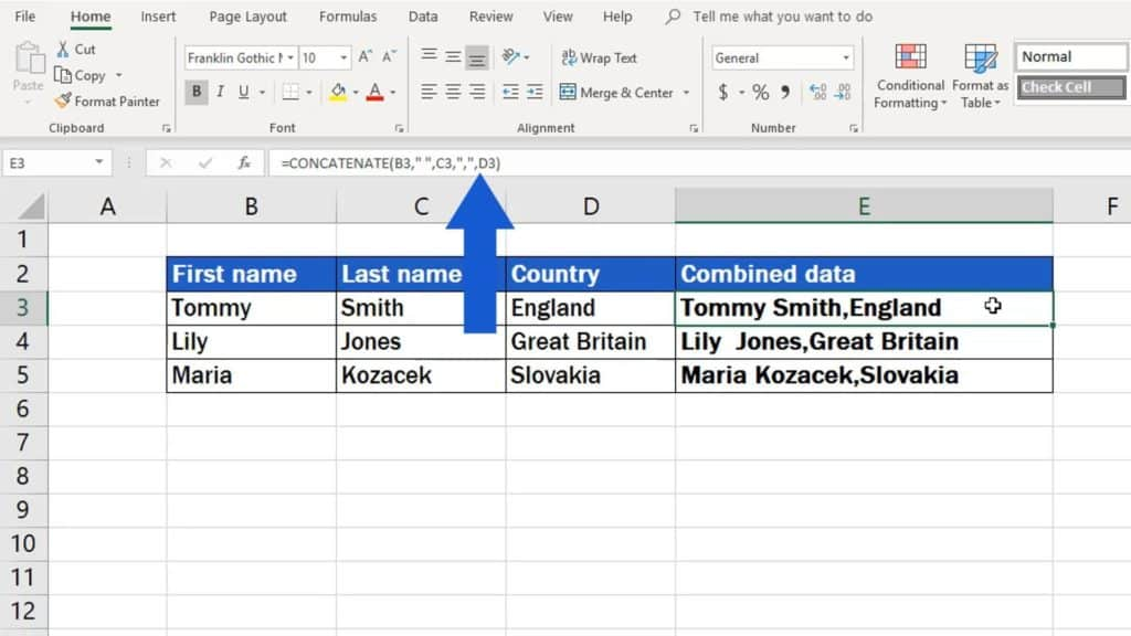 How to Copy And Paste Values Without Formula in Excel - concatenate data into one cell