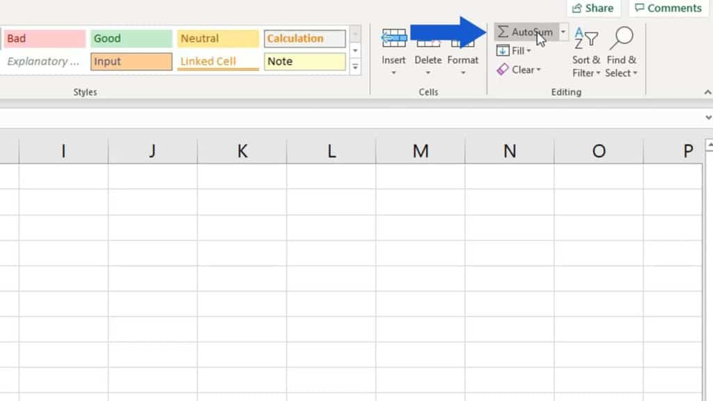 How to Sum a Column in Excel - autosum