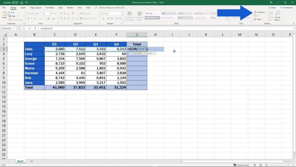 How to Sum a Column in Excel - autosum whole columns