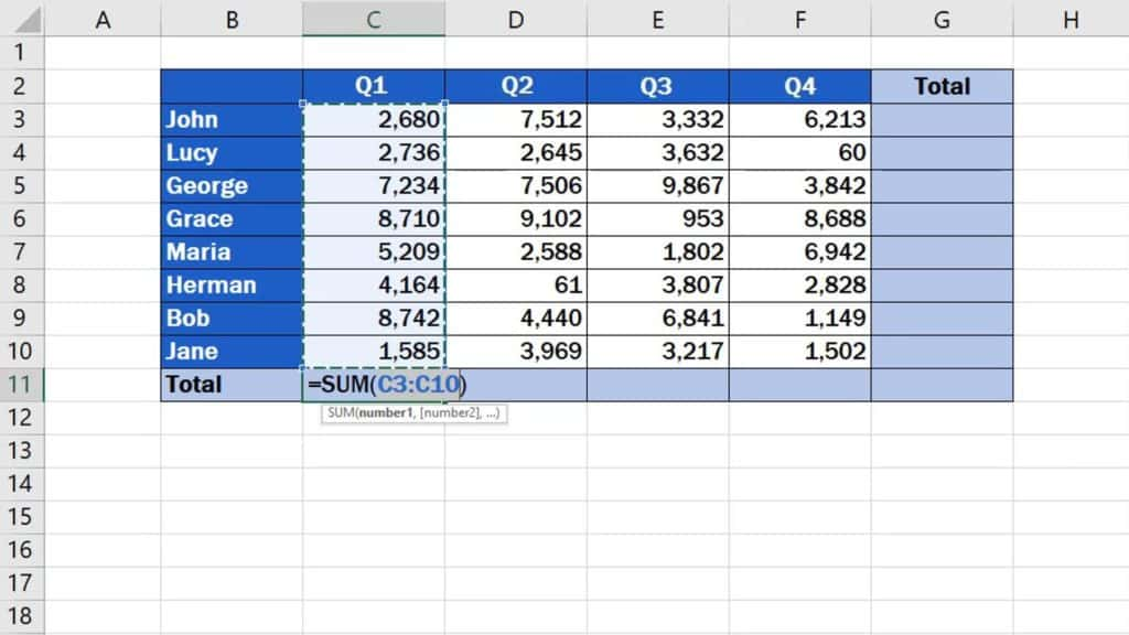 How to Sum a Column in Excel - marked cells
