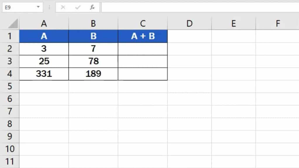 How to add numbers in Excel (Basic way) - add two numbers