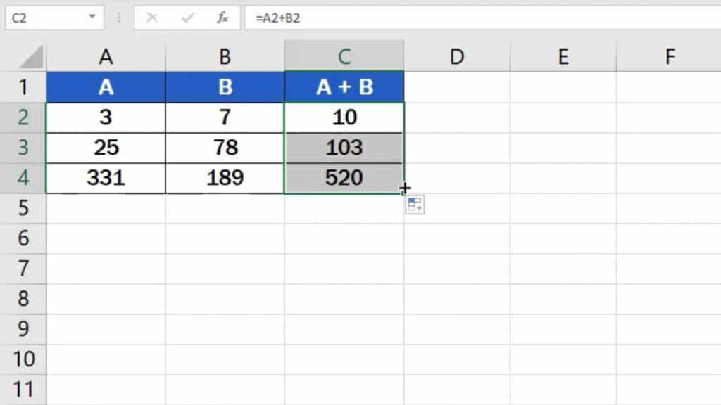 How to add numbers in Excel (Basic way) - use formula in whole column