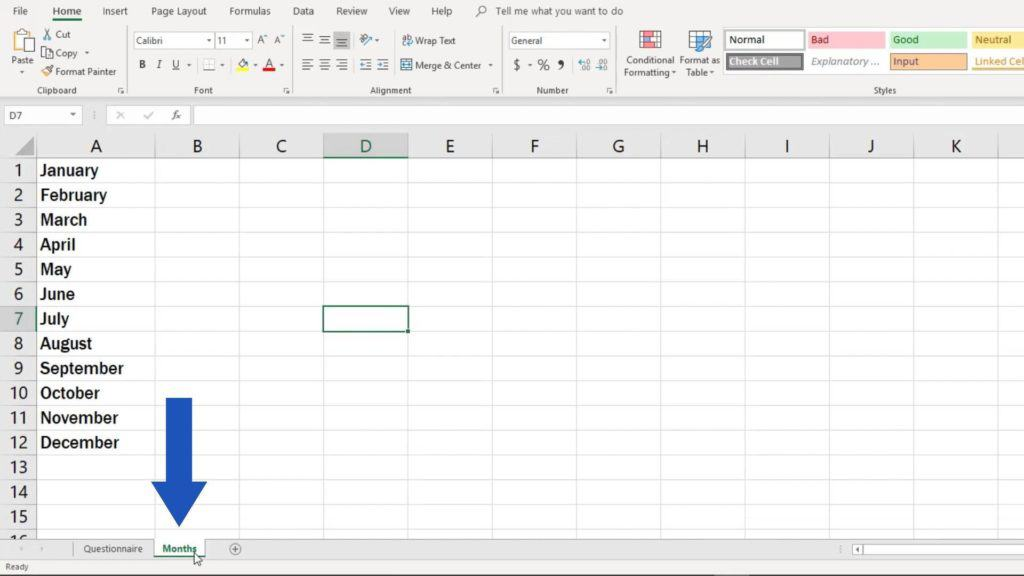 How to create drop down list in Excel - menu in different spreadsheet