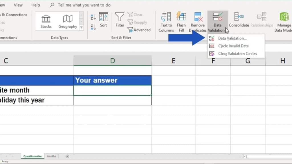 How to create drop down list in Excel - originate drop down list