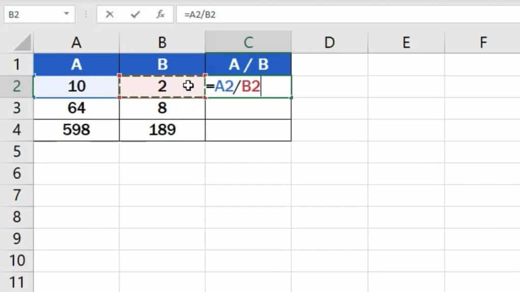 How to divide numbers in Excel (Basic way) - divide two numbers
