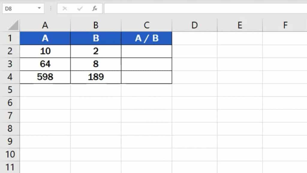 How to divide numbers in Excel (Basic way) - example