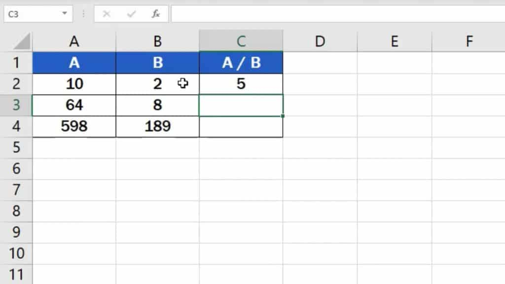 How to divide numbers in Excel (Basic way) - result