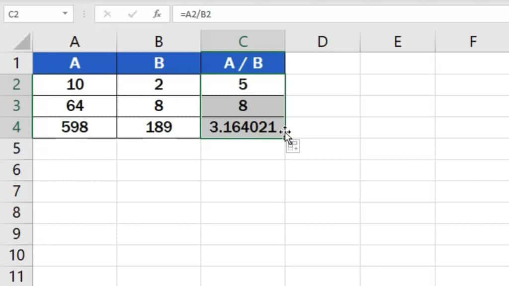 How to divide numbers in Excel (Basic way) - use one formula in more rows
