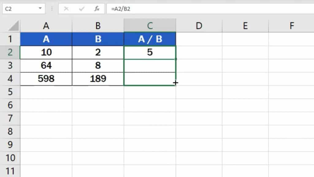How to divide numbers in Excel (basic way) - copying of formula