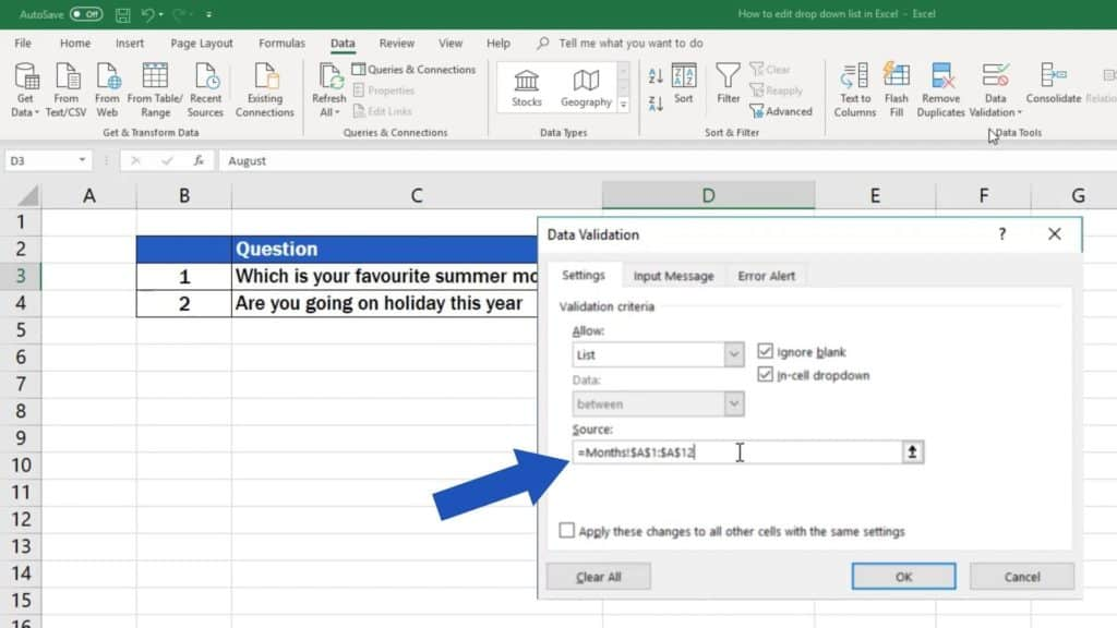 How to Edit Drop-Down List in Excel