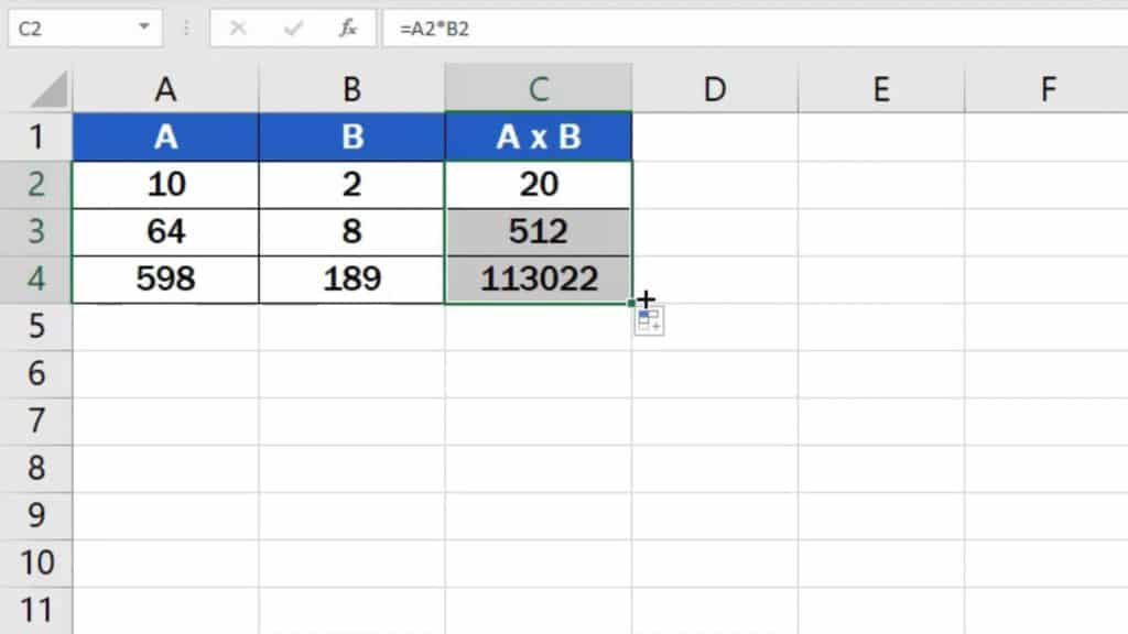 How to multiply numbers in Excel (Basic way) - copying of formula