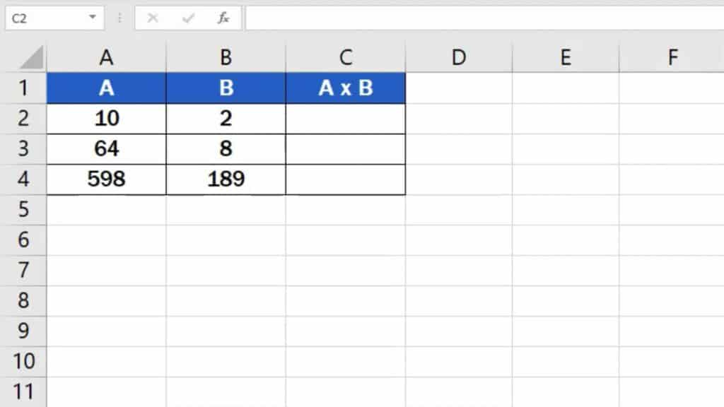 How to multiply numbers in Excel (Basic way) - in table