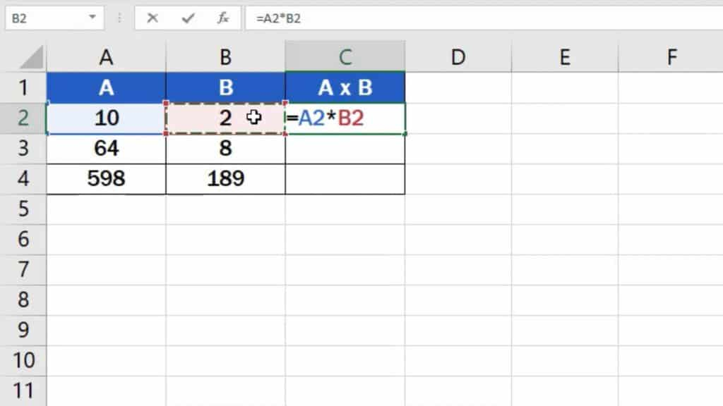 How to multiply numbers in Excel (Basic way) - puttinng formula