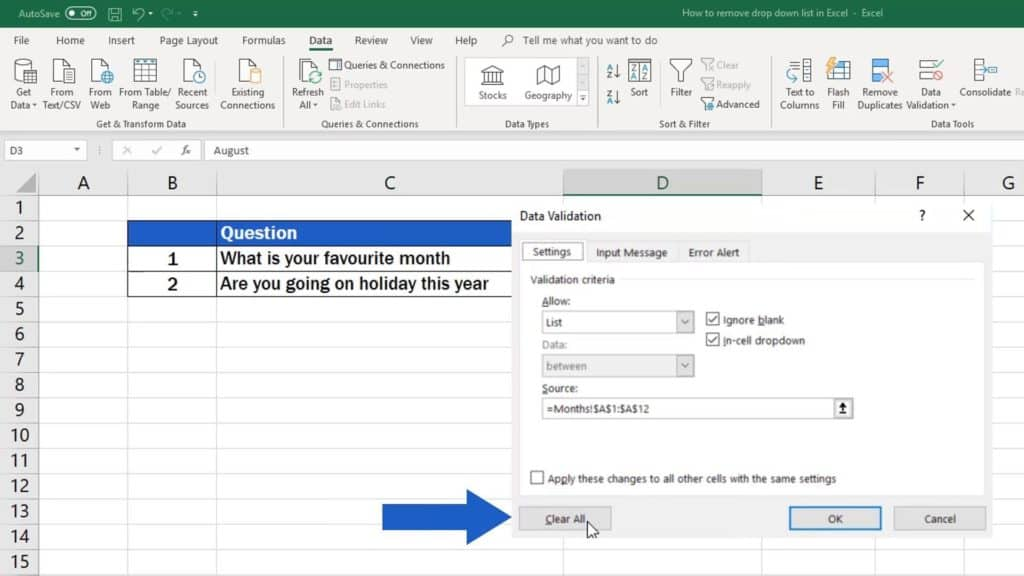 How to remove drop-down list in Excel - clear all