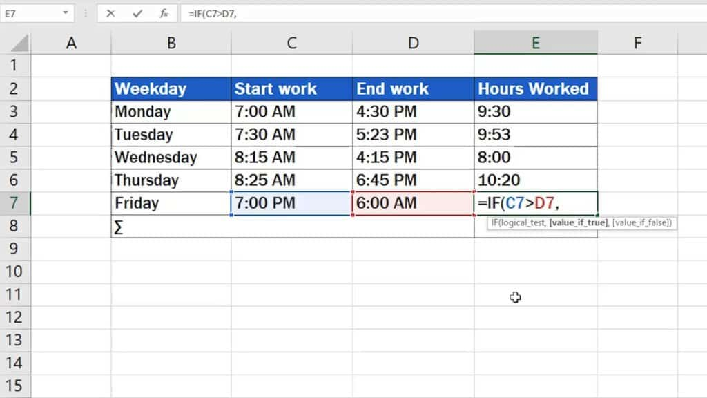 How to Calculate Hours Worked in Excel (Midnight Span) - comma