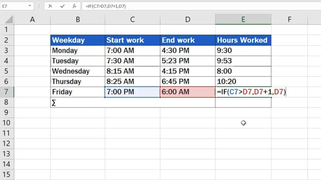 How to Calculate Hours Worked in Excel (Midnight Span) - formula for count