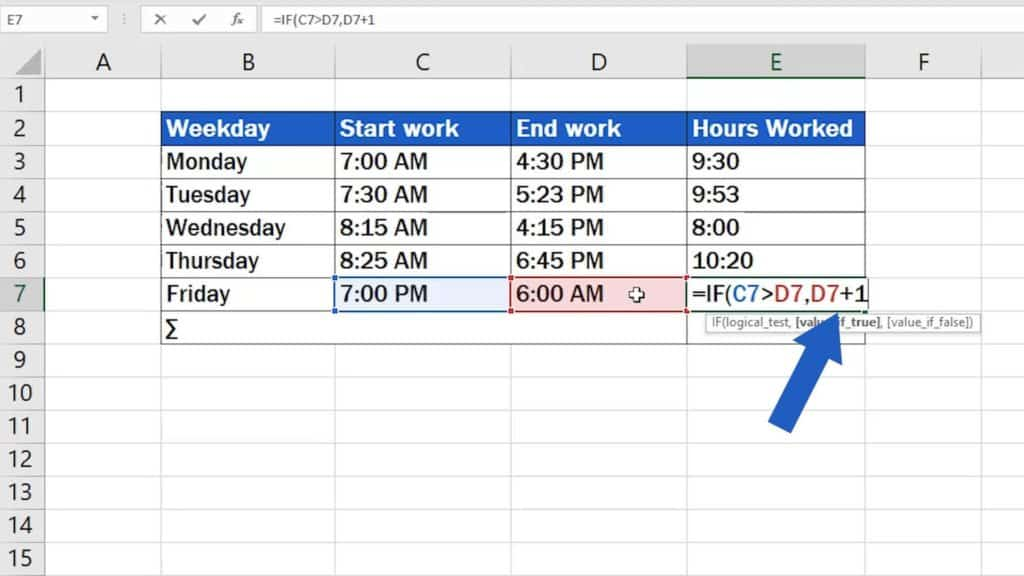 How to Calculate Hours Worked in Excel (Midnight Span) - type true value
