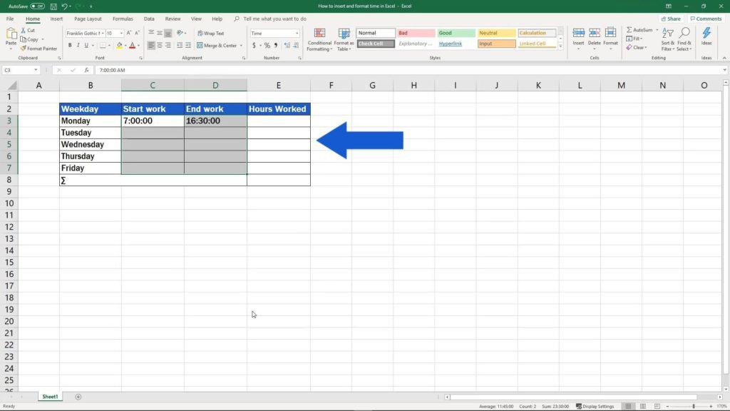 How to Insert and Format Time in Excel - calulate hours worked