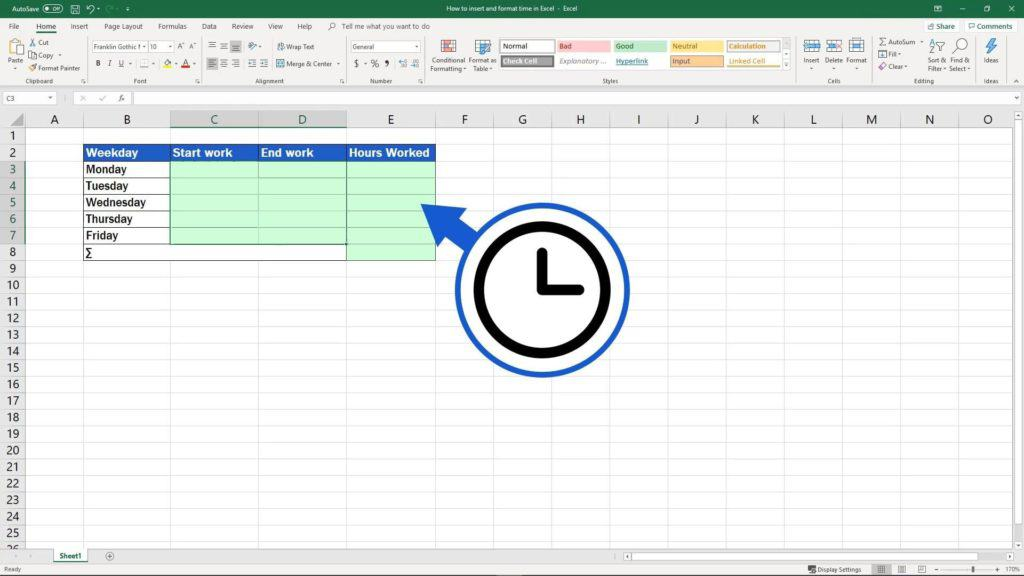 How to Insert and Format Time in Excel - let Excel know that you insert time