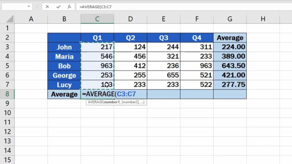 How to Calculate the Average in Excel - average for every individual employee