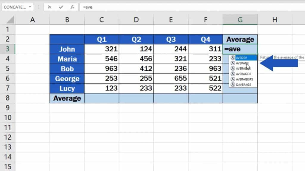 How to Calculate the Average in Excel - average function
