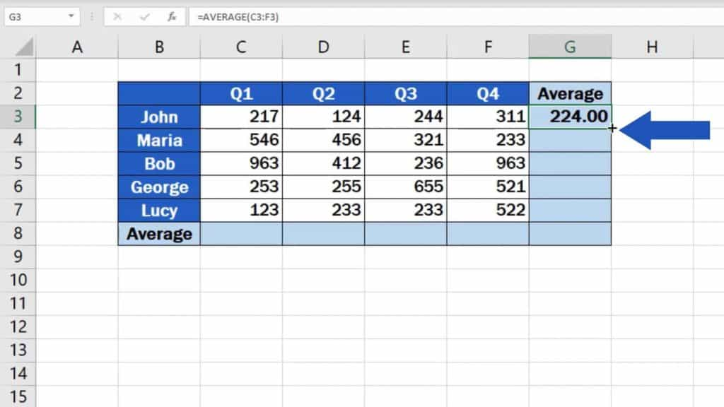 How to Calculate the Average in Excel -average in whole table