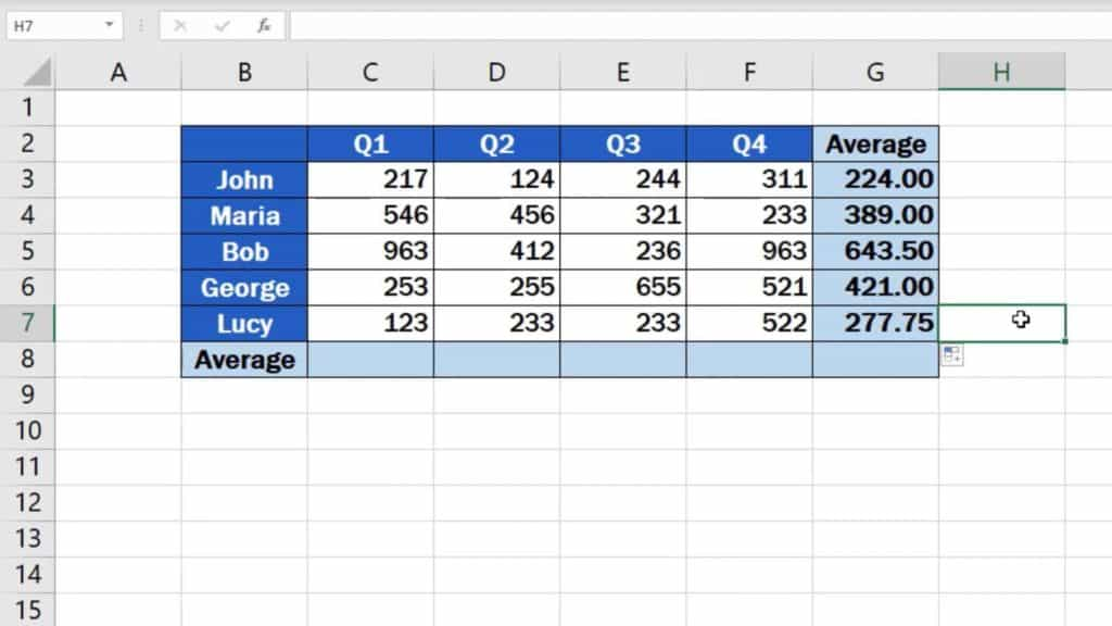 How to Calculate the Average in Excel - averages for quarters
