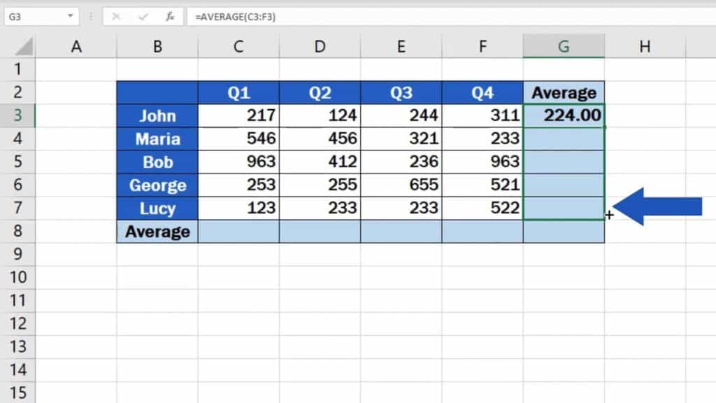 How to Calculate the Average in Excel - copying of formula average