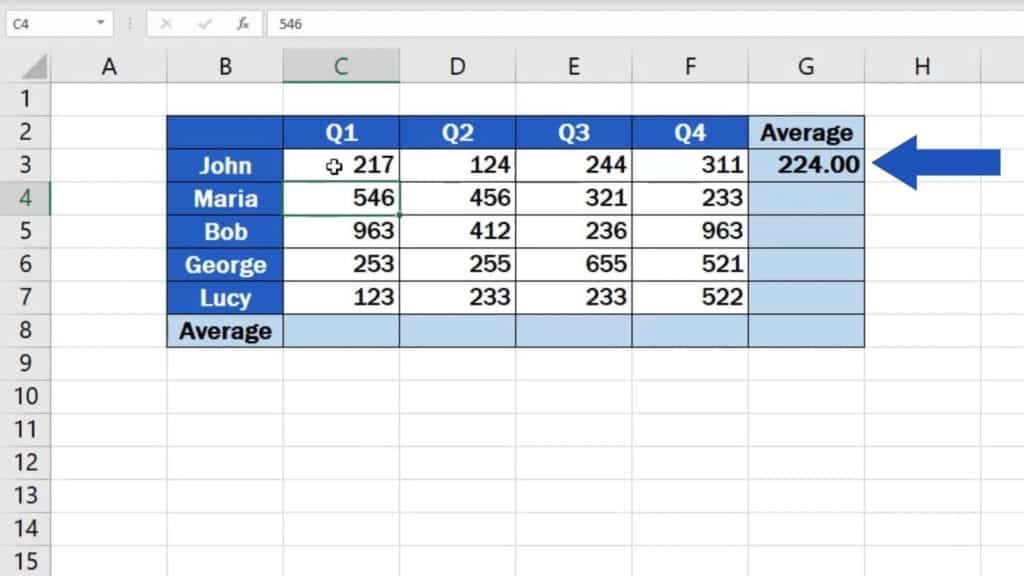 How to Calculate the Average in Excel - dynamic average function