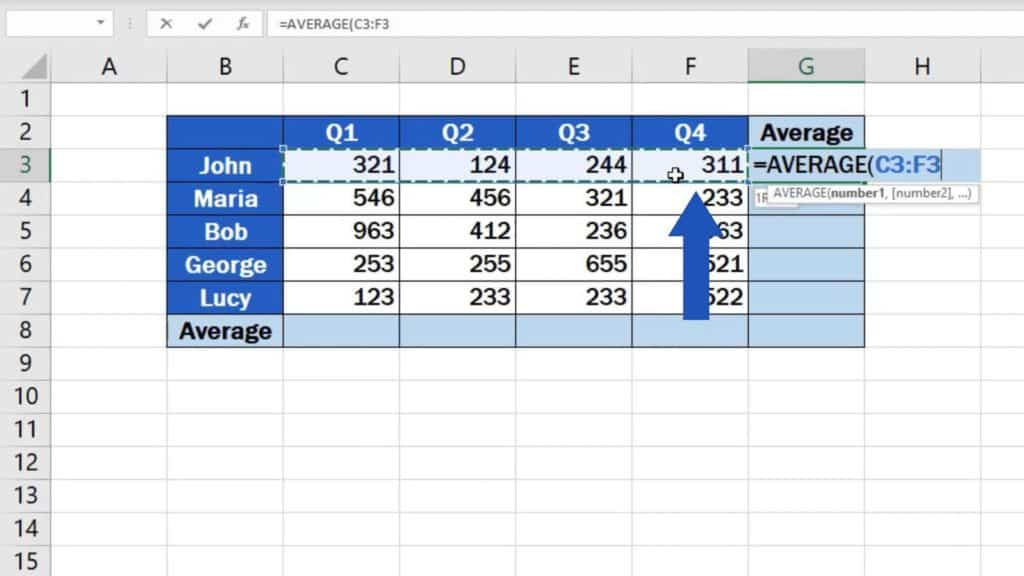 How to Calculate the Average in Excel - location of averaged numbers