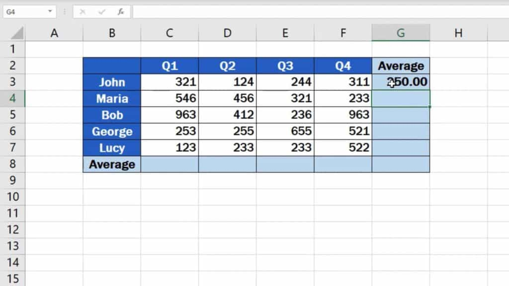 How to Calculate the Average in Excel - quarter average