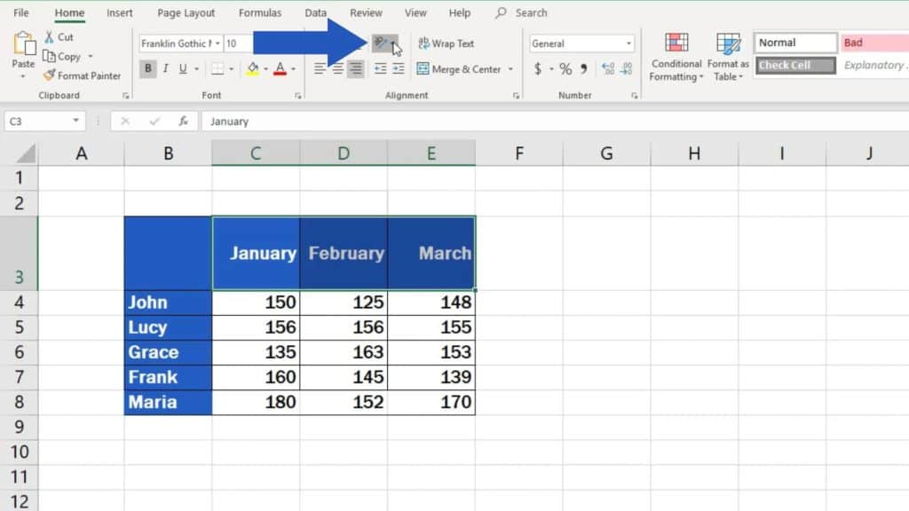 How to Change Text Direction in Excel - icon orientation