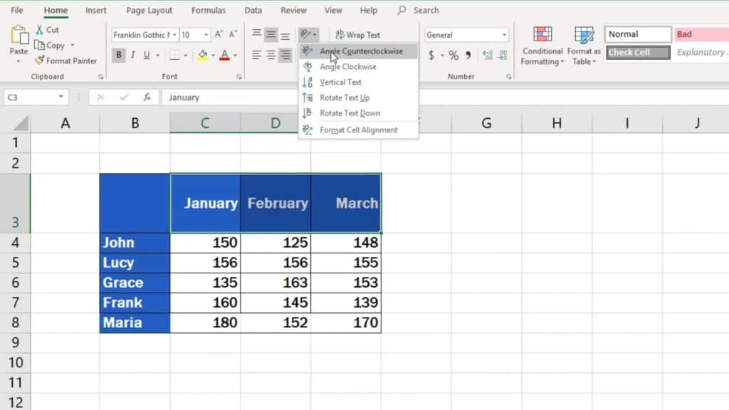How to Change Text Direction in Excel - predefined option