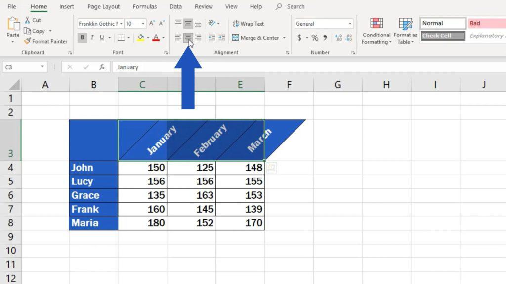 How to Change Text Direction in Excel - set the text alignment