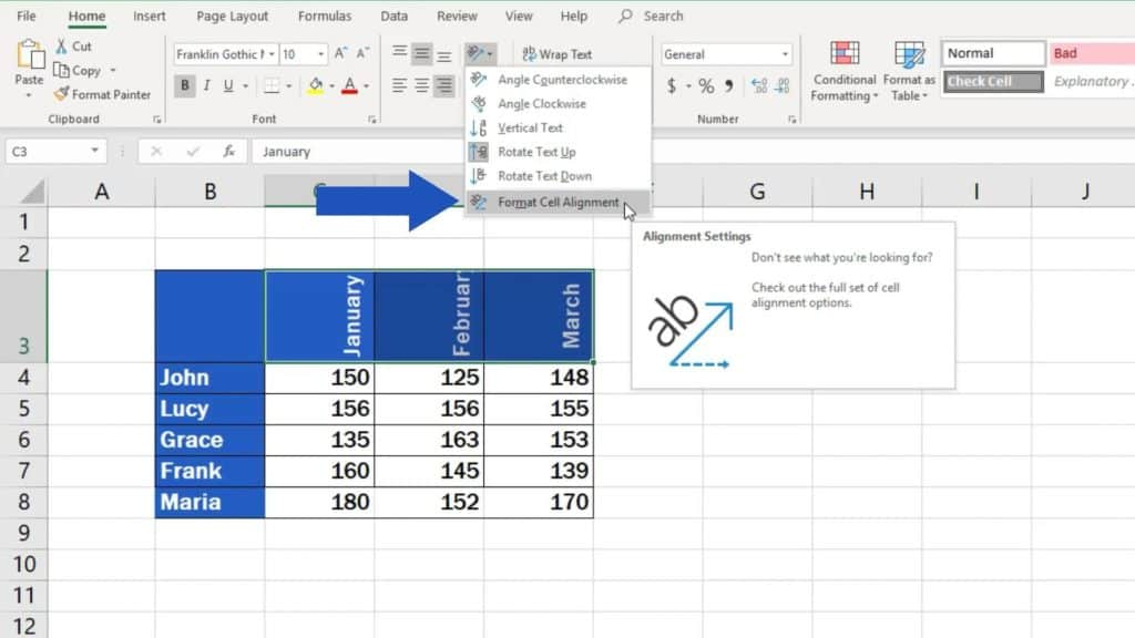 How to Change Text Direction in Excel - specific angle
