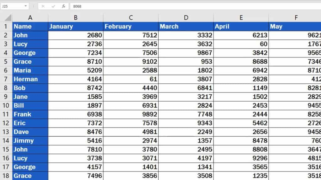 How to Delete Columns in Excel - data table