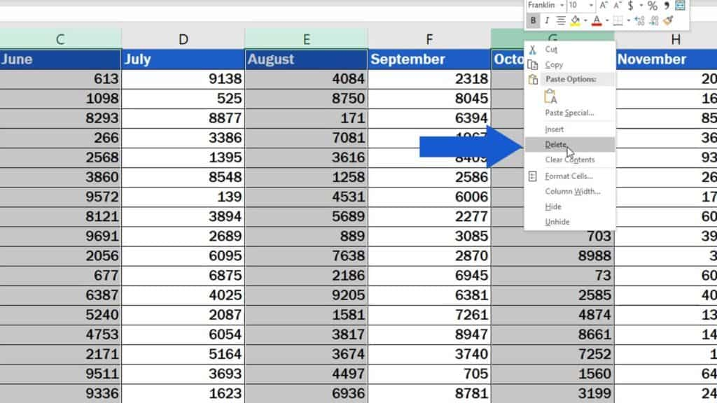 How to Delete Columns in Excel - delete more columns at once