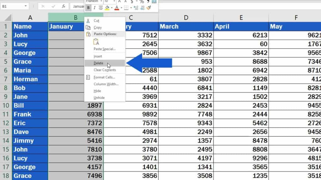 How to Delete Columns in Excel - delete option