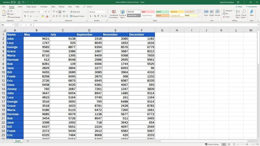 How to Delete Columns in Excel - lost columnsHow to Delete Columns in Excel - lost columns