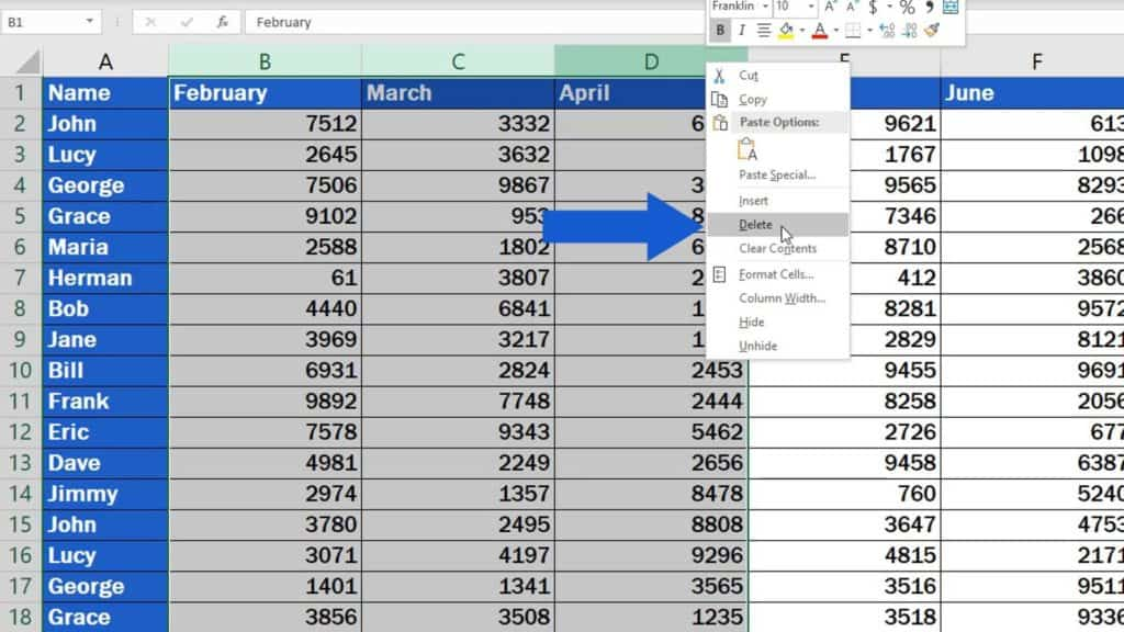 How to Delete Columns in Excel - remove multiple columns