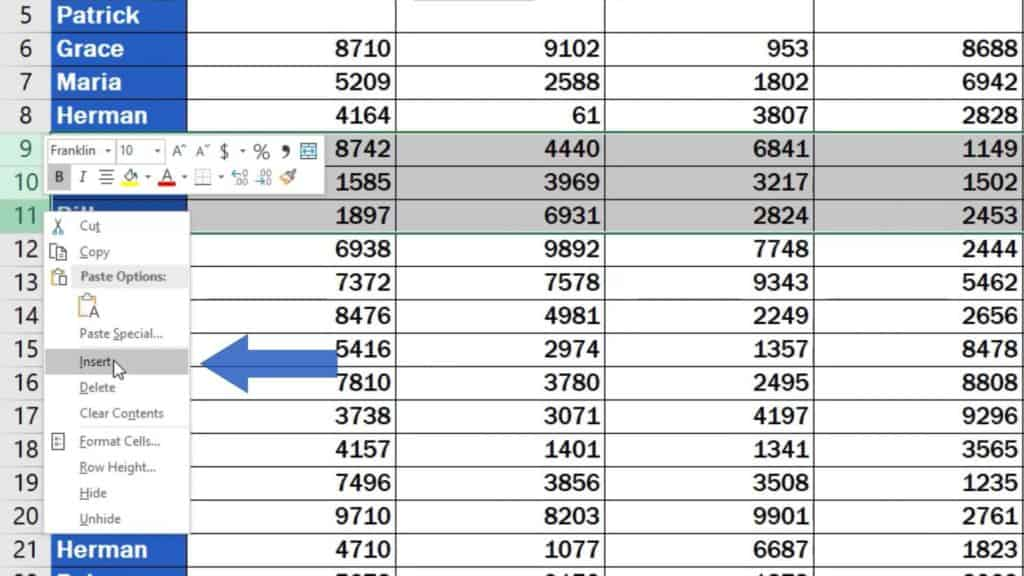 How to Insert Row in Excel - more empty rows