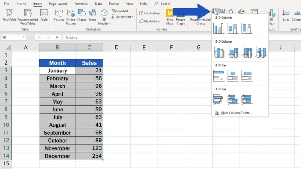 How to Make a Bar Graph in Excel - bar graph option