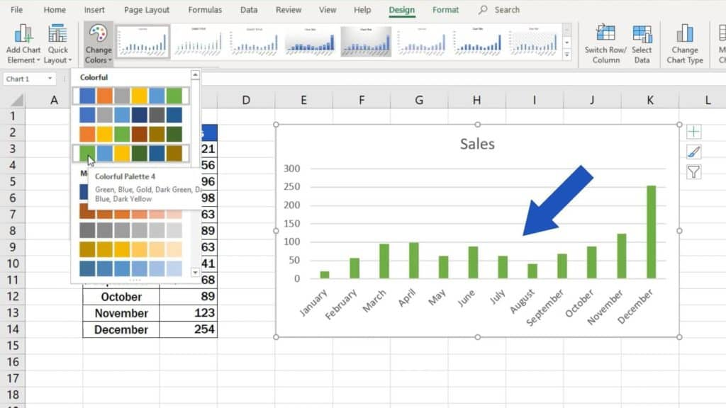 How to Make a Bar Graph in Excel - change colour