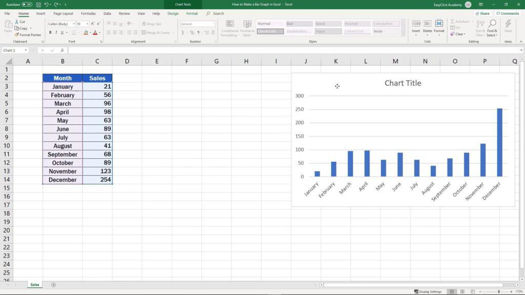 How to Make a Bar Graph in Excel - change position of the graph