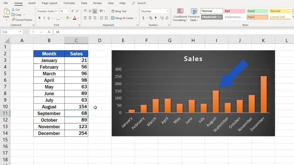 How to Make a Bar Graph in Excel - dynamic data in graph